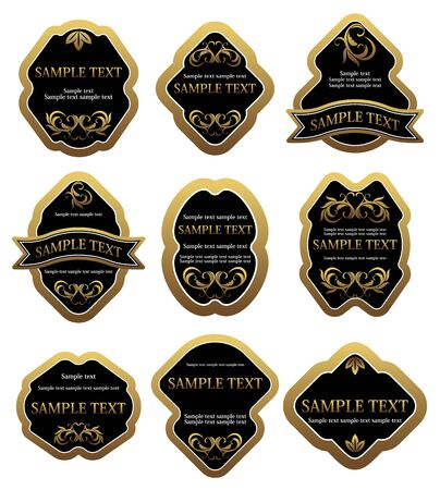 Set of vintage golden labels for design food and beverages Stock Vector - 6725447