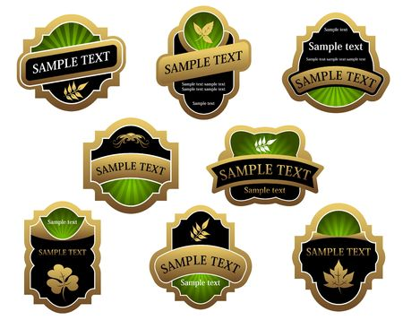 Set of vintage golden labels for design food and beverages Vector