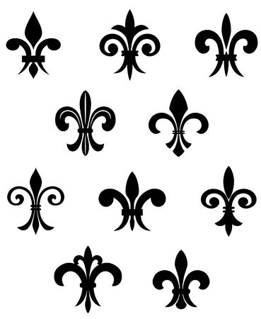 lys: Royal french lily symbols for design and decorate