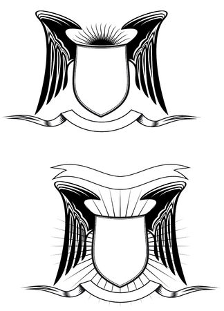 Heraldic shields, wings and ribbons for design Vector