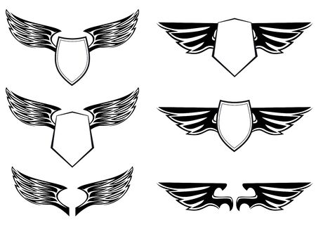 Heraldic wings with shields for design isolated on white Stock Vector - 6725424