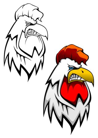 descriptive: Head of angry cock as a tattoo design Illustration