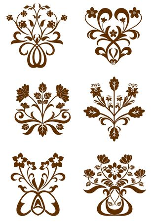 rococo: Flower patterns isolated on white for design and ornate
