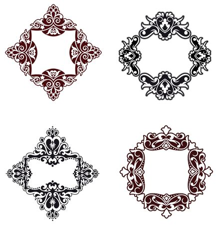 square composition: Flower patterns and borders for design and ornate