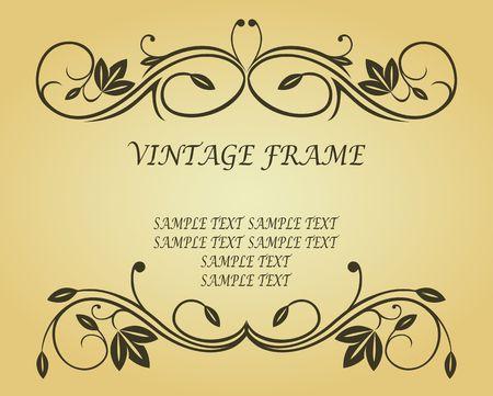 cartouche: Antique vintage frame on background for design