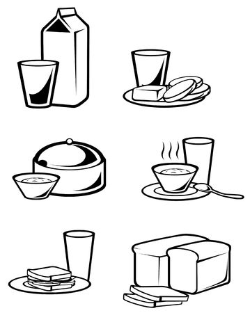 Breakfast food symbols for design isolated on white Vector