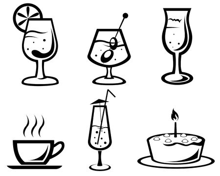 Set of cocktail and food symbols for design Vector