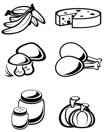 edible mushroom: Set of food symbols for design isolated on white