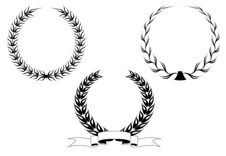 wheat isolated: Set of black laurel wreaths isolated on white