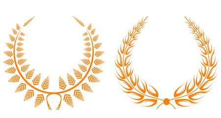 Set of gold laurel wreaths for design Vector