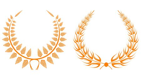 wheat isolated: Set of gold laurel wreaths for design