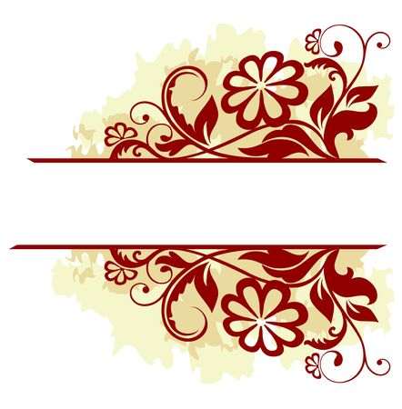 Floral frame in grunge style isolated on white for design Stock Vector - 6827184
