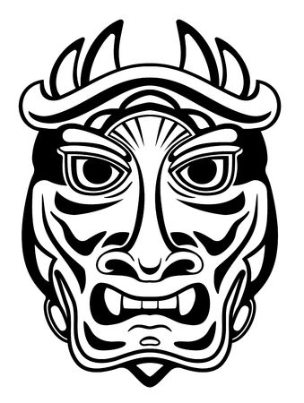 wooden mask: Ancient ceremony mask isolated on white for design