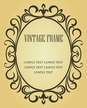 the gothic style: Vintage frame in victorian style for design as a background Illustration