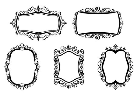 victorian scroll: Antique vintage frames isolated on white for design Illustration