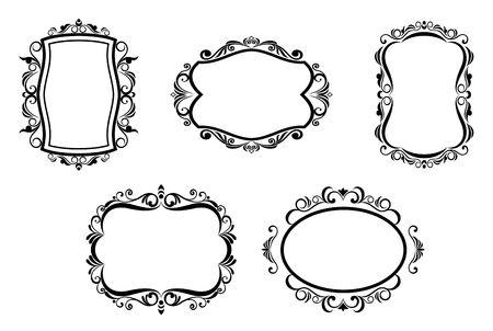 filigree swirl: Antique vintage frames isolated on white for design Illustration