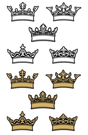 Heraldic crowns and diadems for design and decorate Vector