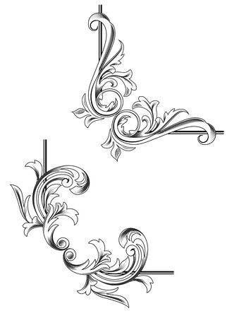 symmetry: Swirl elements and monograms for design and decorate Illustration
