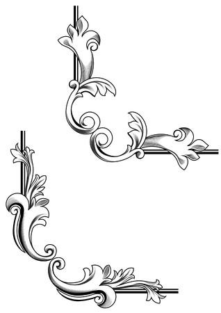 esquineros de flores: Remolinos de elementos y monogramas para dise�o y decorar