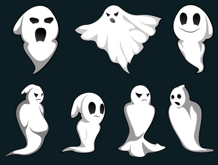 cartoon halloween: Set of ghosts for design isolated on background
