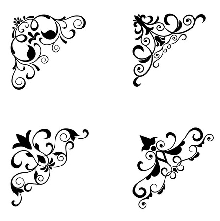 Flower patterns and borders for design and ornate photo