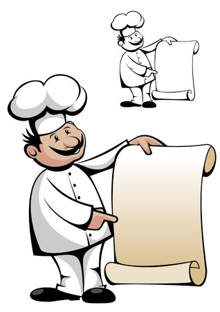 Chef in uniform with menu isolated on white photo