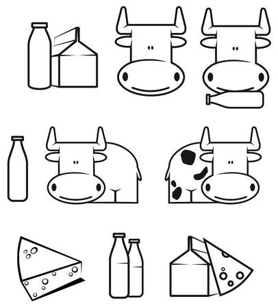 lacteos: Conjunto de vaca y alimentos l�cteos para dise�o
