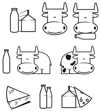 dairy cattle: Set of cow and dairy food for design