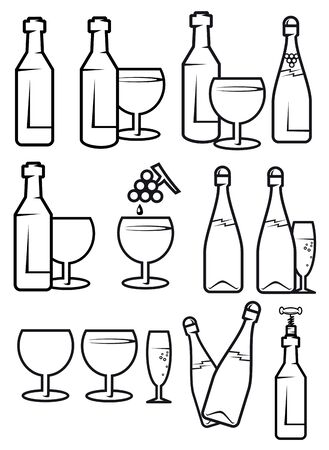 Set of alcohol drinks and symbols for design Vector