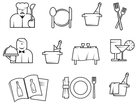 Set of restaurant symbols isolated on white for design Vector