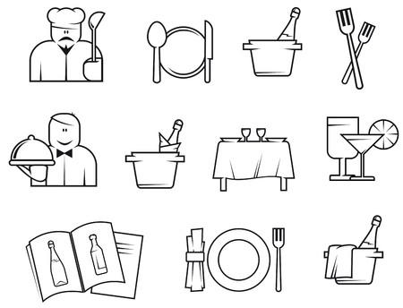 Set of restaurant symbols isolated on white for design Vector