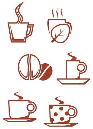 Set of tea and coffee symbols for design Vector