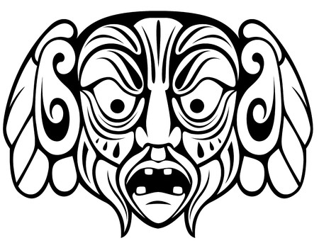 tribal mask: Ancient ceremony mask isolated on white for design