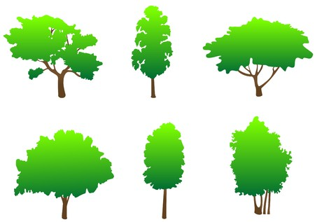Set of tree symbols as a signs or emblems Vector