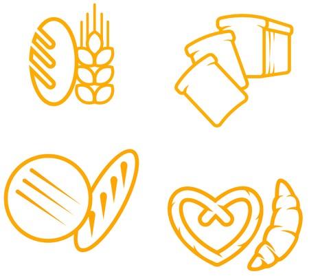 pan frances: Conjunto de s�mbolos de pan y panader�a de dise�o
