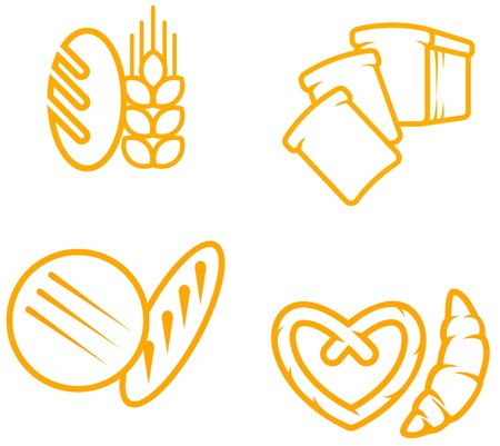 bread loaf: Set di simboli di pane e prodotti da forno per la progettazione  Vettoriali