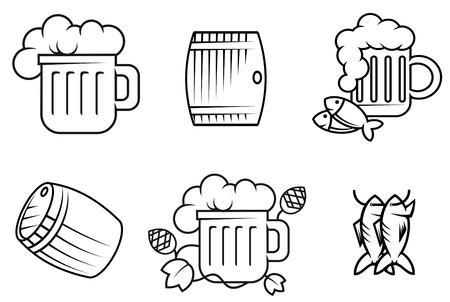 chope biere: Jeu de symboles de la bi�re et alcool isol� sur fond blanc