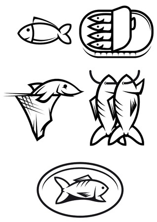 salmon steak: Set of seafood and fish symbols isolated on white
