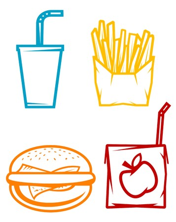 unhealthy food: Set of fast food symbols isolated on white  Illustration