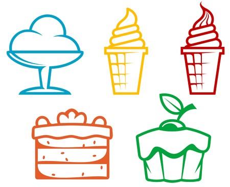 Conjunto de alimentos de postre aislados en blanco para el diseño