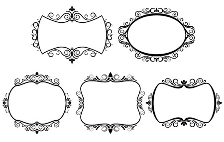 medieval banner: Set of vintage frames isolated on white
