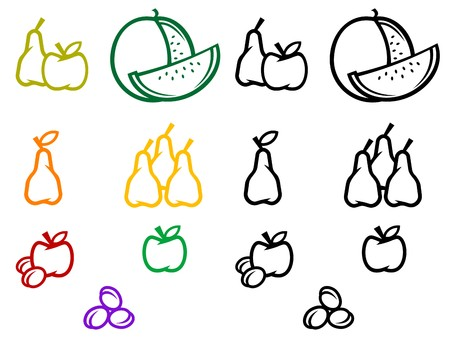 Set of fruits symbols isolated on white Vector