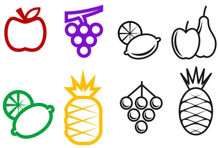 grape seed: Set of fruit symbols isolated on white for design