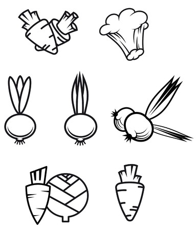 Set of vegetable symbols isolated on white for design Vector