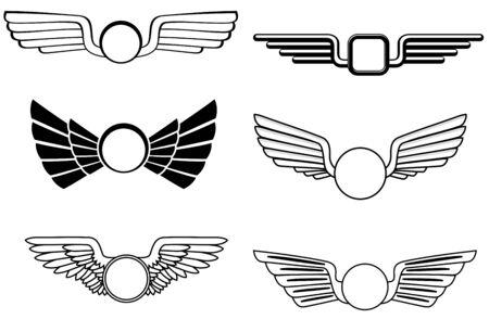 escudo militar: Escudo con alas como un s�mbolo her�ldico de dise�o  Vectores