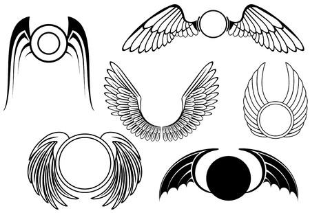 alas de angel: Conjunto de s�mbolos de ala aislados en blanco