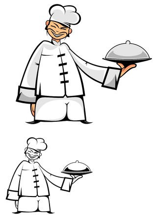 Chinese chef in uniform as a concept of healthy food Vector
