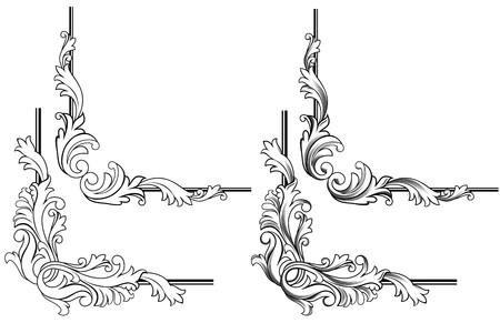 corner design: Swirl elements and monograms for design and decorate Illustration