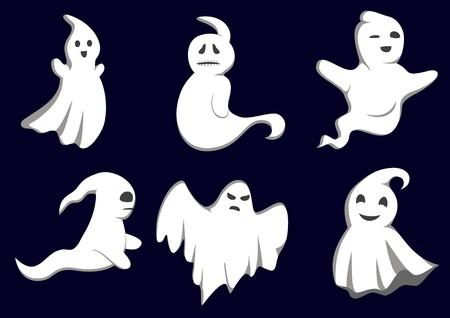 Conjunto de fantasmas para diseño aislados en segundo plano  Ilustración de vector