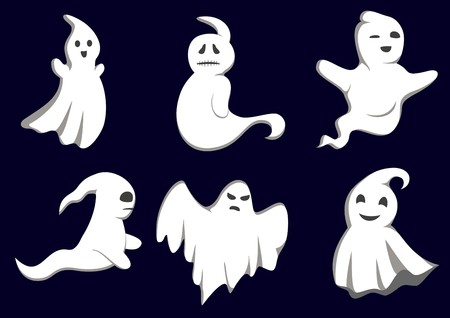 design costume: Set of ghosts for design isolated on background